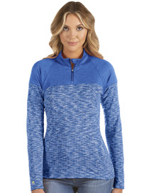 Antigua: Women's Essentials Long Sleeve Polo - Luna 104314 (154 Dark Royal Heather, Size: Medium) SALE