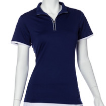 EP NY Golf: Women's Short Sleeve Contrast Trim Convertible Collar Polo  (Inky Multi, Size: Large) SALE