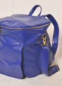 Sassy Caddy: Leather Back Pack - Cobalt Blue