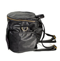 Sassy Caddy: Leather Back Pack - Pebbled Black