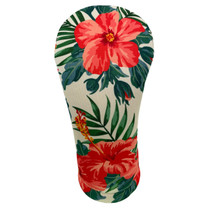 BeeJos: Golf Head Cover - Red Flowers Hawaiian Print