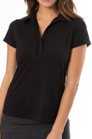 Golftini: Women's Short Sleeve Ruffle Tech Polo - Black