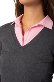Golftini: Women's Long Sleeve V-Neck Sweater - Charcoal Grey