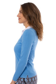 Golftini: Women's Long Sleeve V-Neck Sweater - Sky Blue