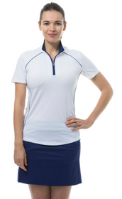 SanSoleil: Ladies UPF 50 SunGlow Zip Polo with Piping - 900447