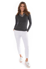 Golftini: Women's White with Silver Piping Pull-On Stretch Ankle Pant