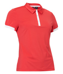 Abacus Sports Wear: Women's High-Performance Golf Polo - Cherry (Poppy Red, Size: Large) SALE
