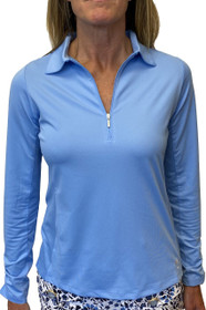 Golftini: Women's Long Sleeve Breathable Zip Tech Polo - Sky Blue
