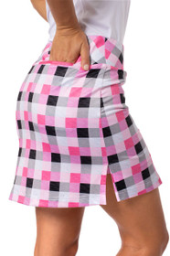 Golftini: Women's Plaid Pull-On Stretch Skort - Neapolitan (Size: X-Large) SALE