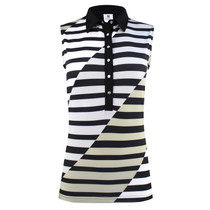 Daily Sports: Women's Judy Sleeveless Polo - Black Stripe