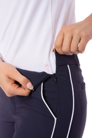 Golftini: Women's Navy with White Pull-On Stretch Ankle Pant