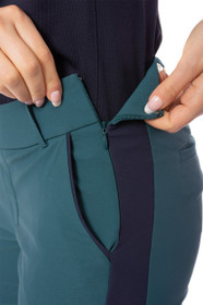 Golftini: Women's Green with Navy Pull-On Stretch Ankle Pant