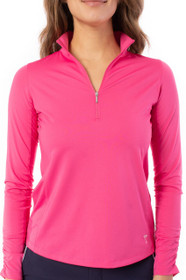 Golftini: Women's Long Sleeve Zip Mock Stretch Polo - Hot Pink