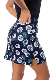 Golftini: Women's Floral Pull-On Stretch Skort - Night Moves