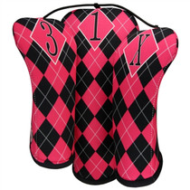 BeeJos: Golf Head Cover - Hot Pink and Black Argyle (X Fairway Cover) SALE