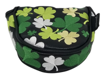 Shamrocks All-Over Embroidered Putter Cover by ReadyGOLF - Mallet