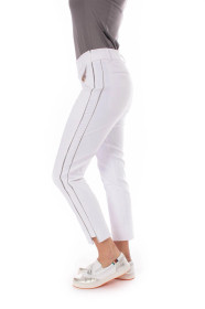 Golftini: Women's White with Silver Piping Pull-On Stretch Ankle Pant (Size: XXS) SALE