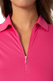 Golftini: Women's Long Sleeve Breathable Panel Zip Tech Polo - Hot Pink (Size: Small) SALE