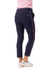Golftini: Women's Navy with Light Pink Stripe Pull-On Stretch Ankle Pant
