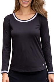 Golftini: Women's Long Sleeve Mesh Trim Top - Black with White