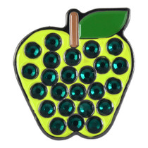 ReadyGolf: Green Apple Ball Marker & Hat Clip with Crystals