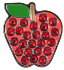 ReadyGolf: Red Apple Ball Marker & Hat Clip with Crystals