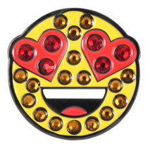 ReadyGolf: Emoji Smiling Face With Heart-Eyes Ball Marker & Hat Clip with Crystals