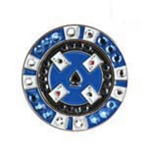 Bonjoc: Ball Marker & Hat Clip - Blue Poker Chip