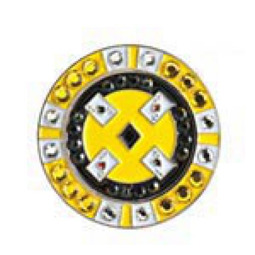 Bonjoc Ball Marker & Hat Clip - POKER CHIP - Yellow
