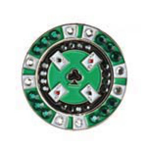 Bonjoc Ball Marker & Hat Clip - POKER CHIP - Green