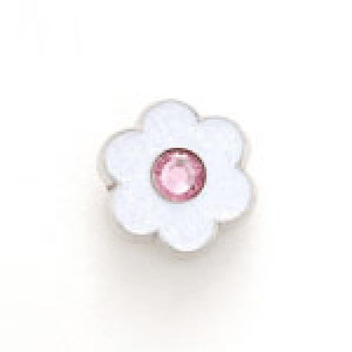 Bonjoc: Snap-On Glitter Ball Marker -Flower White with Pink Center