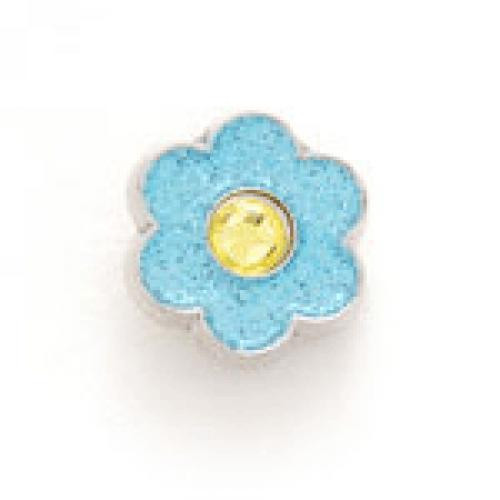 Bonjoc Flower Snap-On Glitter Ball Marker Blue with Yellow Center