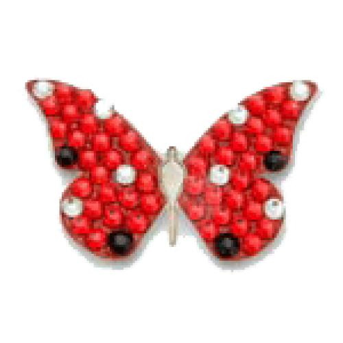 Bonjoc Ball Marker & Hat Clip - RED BUTTERFLY