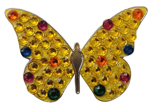 Bonjoc Ball Marker & Hat Clip - YELLOW BUTTERFLY