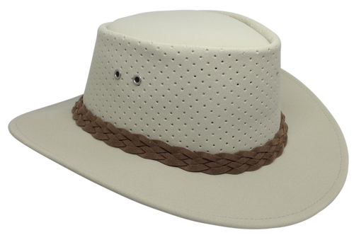 Aussie Chiller Outback Bushie Perforated Hat - Pearl White