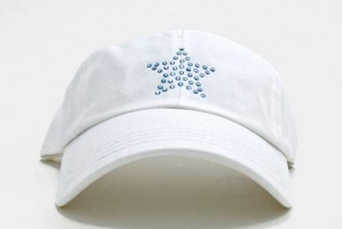 Dolly Mama: Ladies Baseball Hat - Star on White