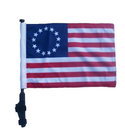 SSP Flags: 11x15 inch Golf Cart Flag with Pole - Betsy Ross