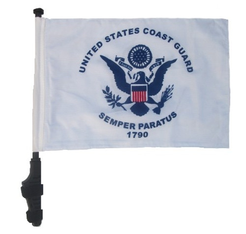 SSP Flags: 11x15 inch Golf Cart Flag with Pole - Coast Guard