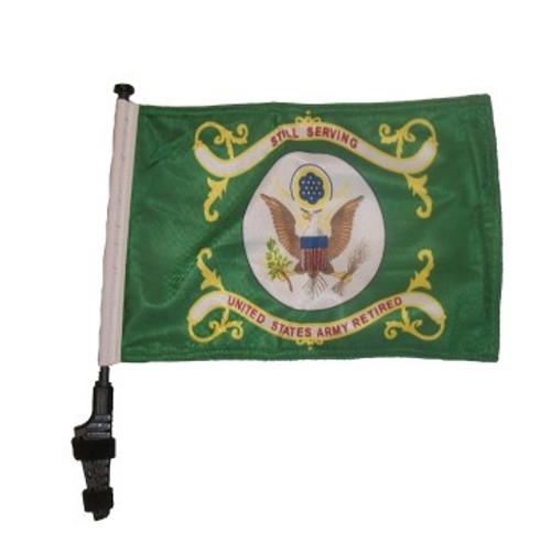 SSP Flags: 11x15 inch Golf Cart Flag with Pole - Retired Army