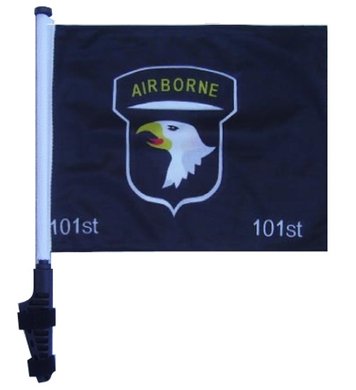 SSP Flags: 11x15 inch Golf Cart Flag with Pole - 101st Airborne