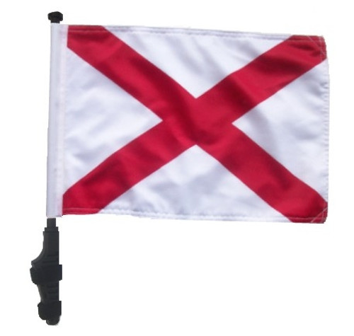 SSP Flags: 11x15 inch Golf Cart Flag with Pole - State of Alabama