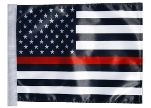 SSP Flags: 11x15 inch Golf Cart Replacement Flag - Thin Red Line USA Black & White