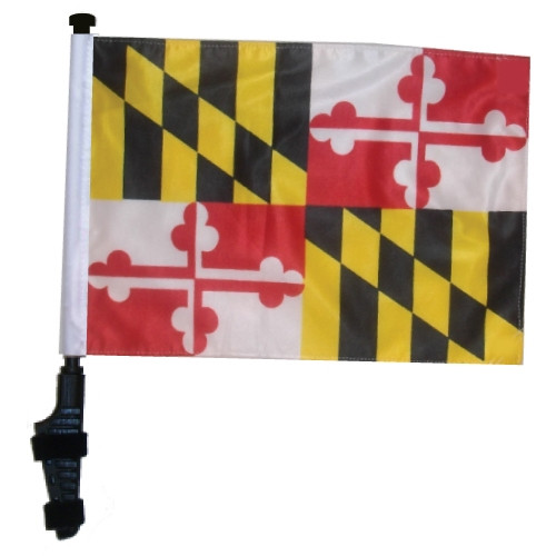 SSP Flags: 11x15 inch Golf Cart Flag with Pole - State of Maryland