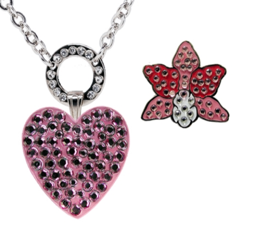 Navika: Allure Magnetic Necklace with Ball Markers adorned with Crystals from Swarovski - Pink Heart & Orchid *