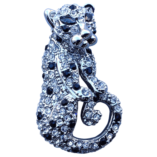 ReadyGolf: 3D Silver Jaguar /Panther Ball Marker & Hat Clip with Crystals