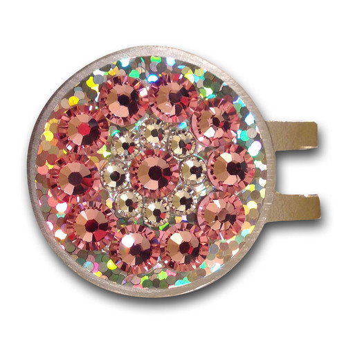 Blingo Ball Markers: Light Pink on Silver Glitter