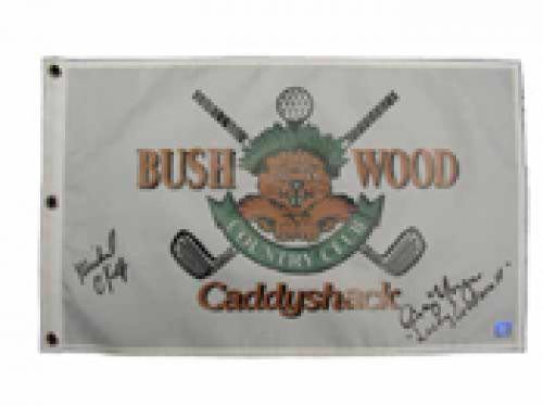 Caddyshack Pin Flag with Bushwood Logo Signed by Cindy Morgan & Michael O'Keefe