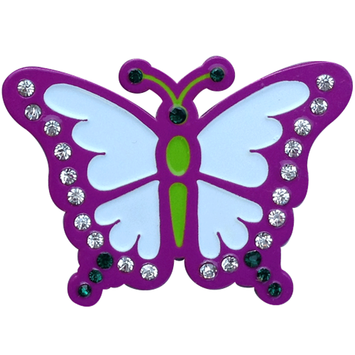ReadyGolf: Butterfly Ball Marker & Hat Clip with Crystals