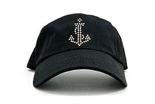 Dolly Mama: Ladies Baseball Hat - Anchor on Black