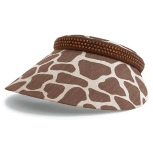 Dolly Mama: Ladies Full Clip-On Visor - Audrey - Giraffe Print
